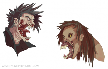 Old Character Redraw   Vampire and Werewolf by Ahrjey
