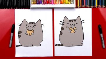 How To Draw The Pusheen Cat Eating A Cookie GIVEAWAY   Art For