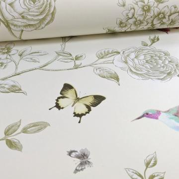 Ideco Rose Garden Bird Butterfly Pattern Floral Motif Wallpaper A14601