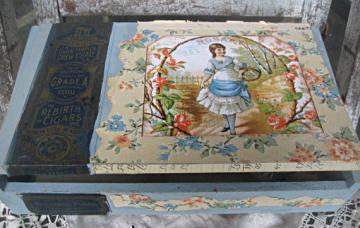 Altered vintage cigar box vintage wallpaper by LittleBeachDesigns 34