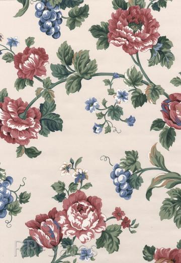 Pink Burgundy Blue Rose Flower Fruit Vintage Wall Wallpaper eBay