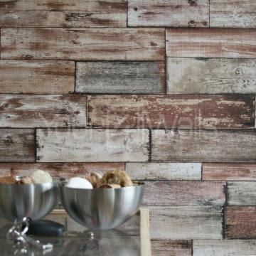 Wood Scrapwood Reclaimed Wood Wallpaper Beige Brown Tones Striped Wood