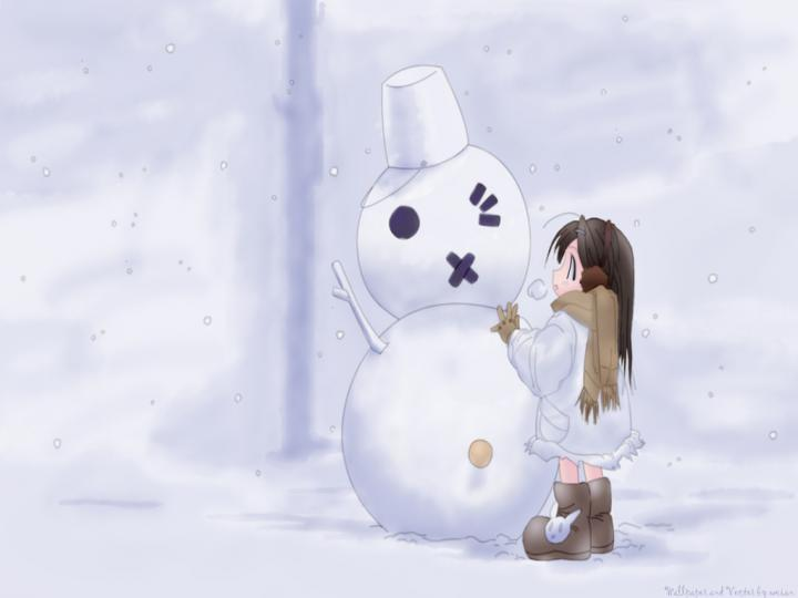 1024x768px Cute Snowman Wallpaper