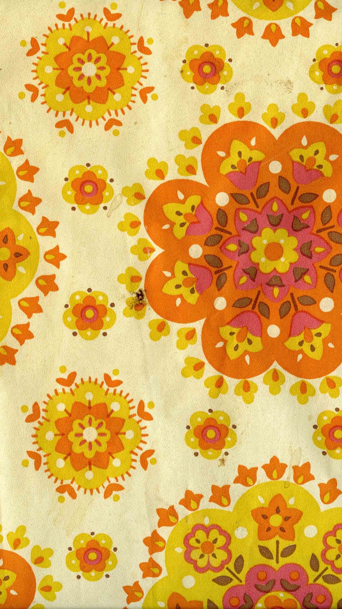 Free Download Wallpaper 60s 70s Yellow Orange Floral