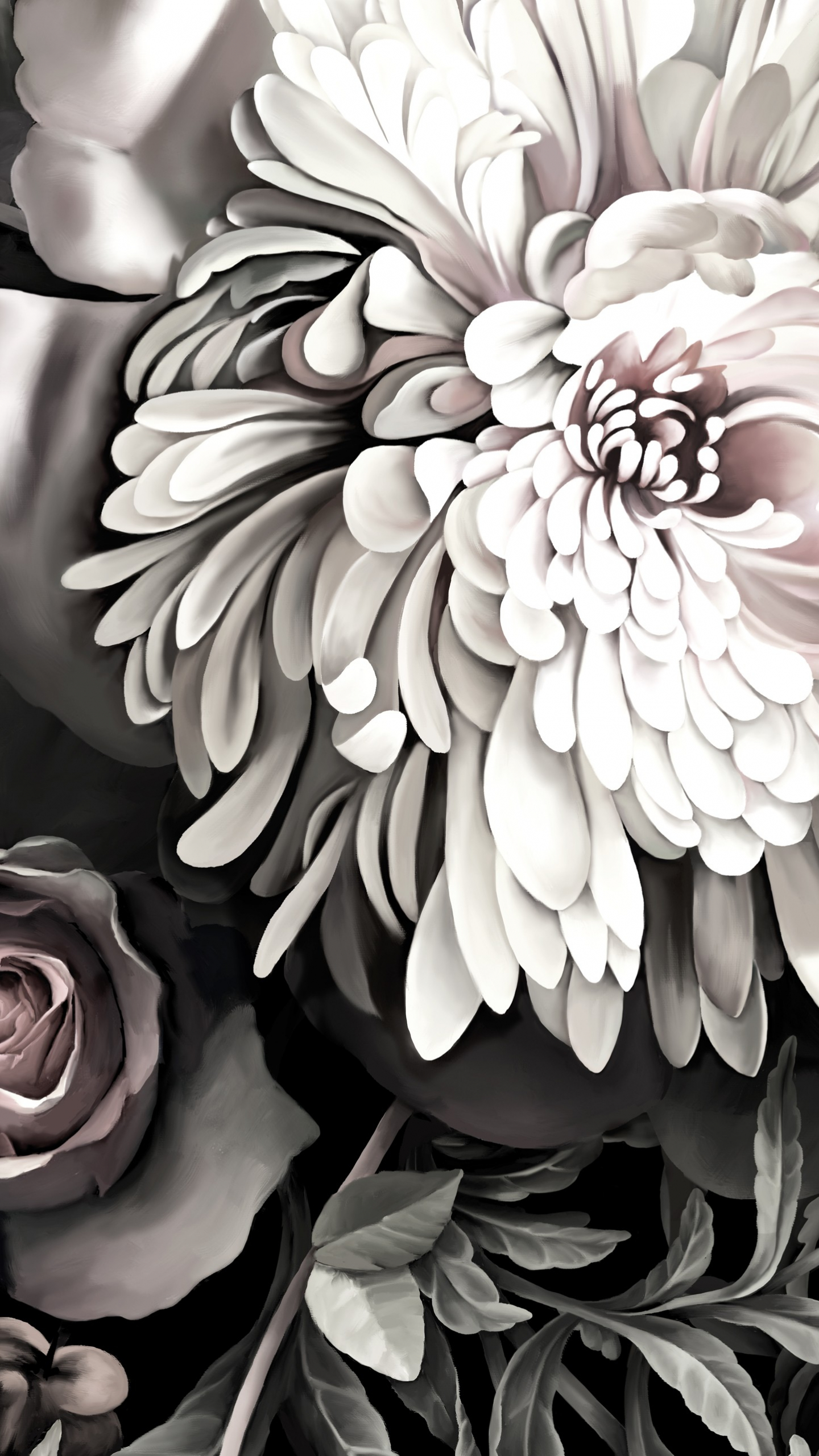 Free Download Dark Floral Ii Black Desaturated By Ellie Cashman