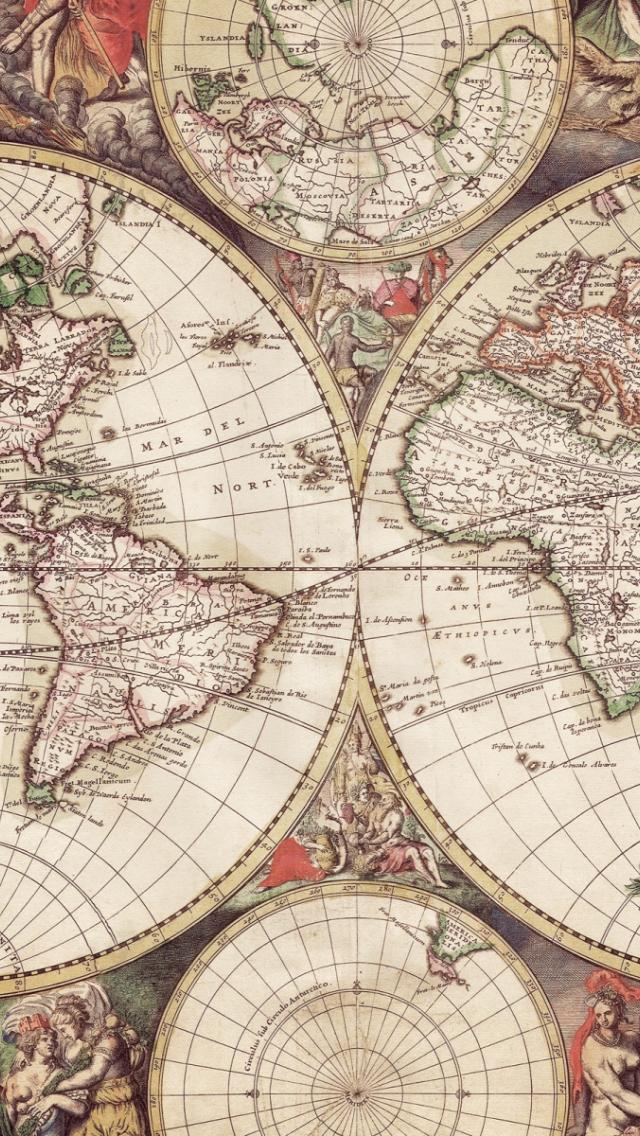 Free World Map With Engravings Desktop Wallpaper