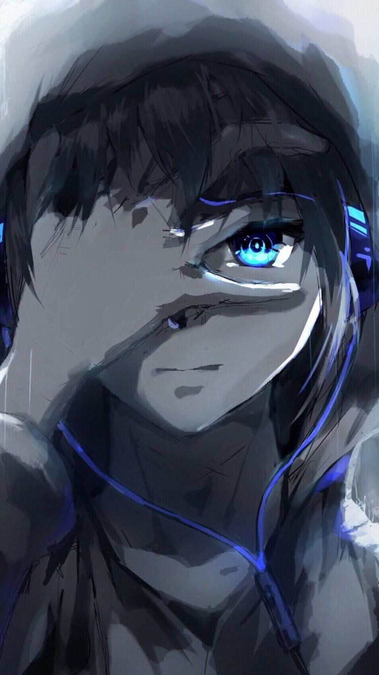 Free download Anime Boy Hoodie Blue Eyes Headphones ...