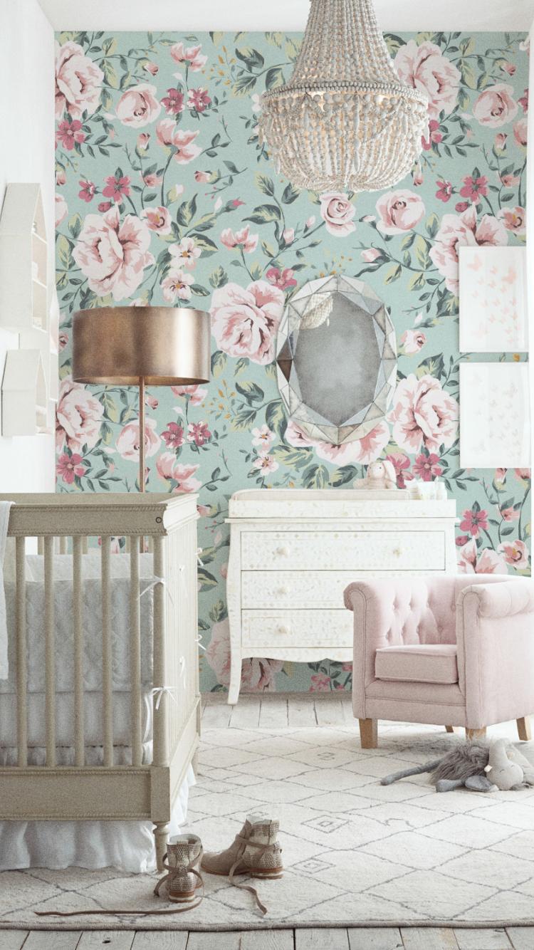 Vintage Floral Wallpaper Wall Paper Removable Vintage nursery decor Peel and Stick Wallpaper Flower Pattern Wallpaper A220