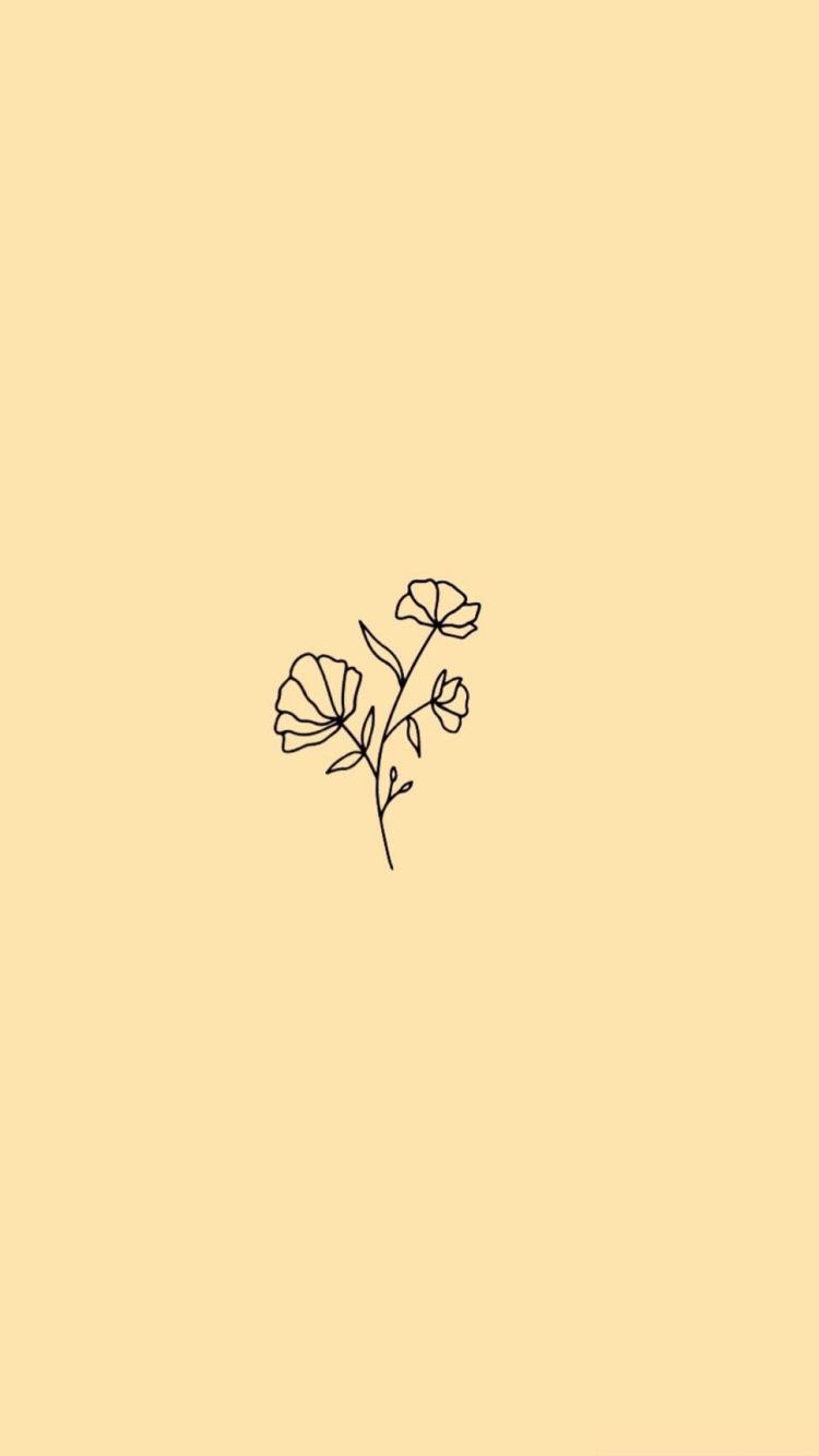 Free download minimalist flower wallpaper pastel yellow ...