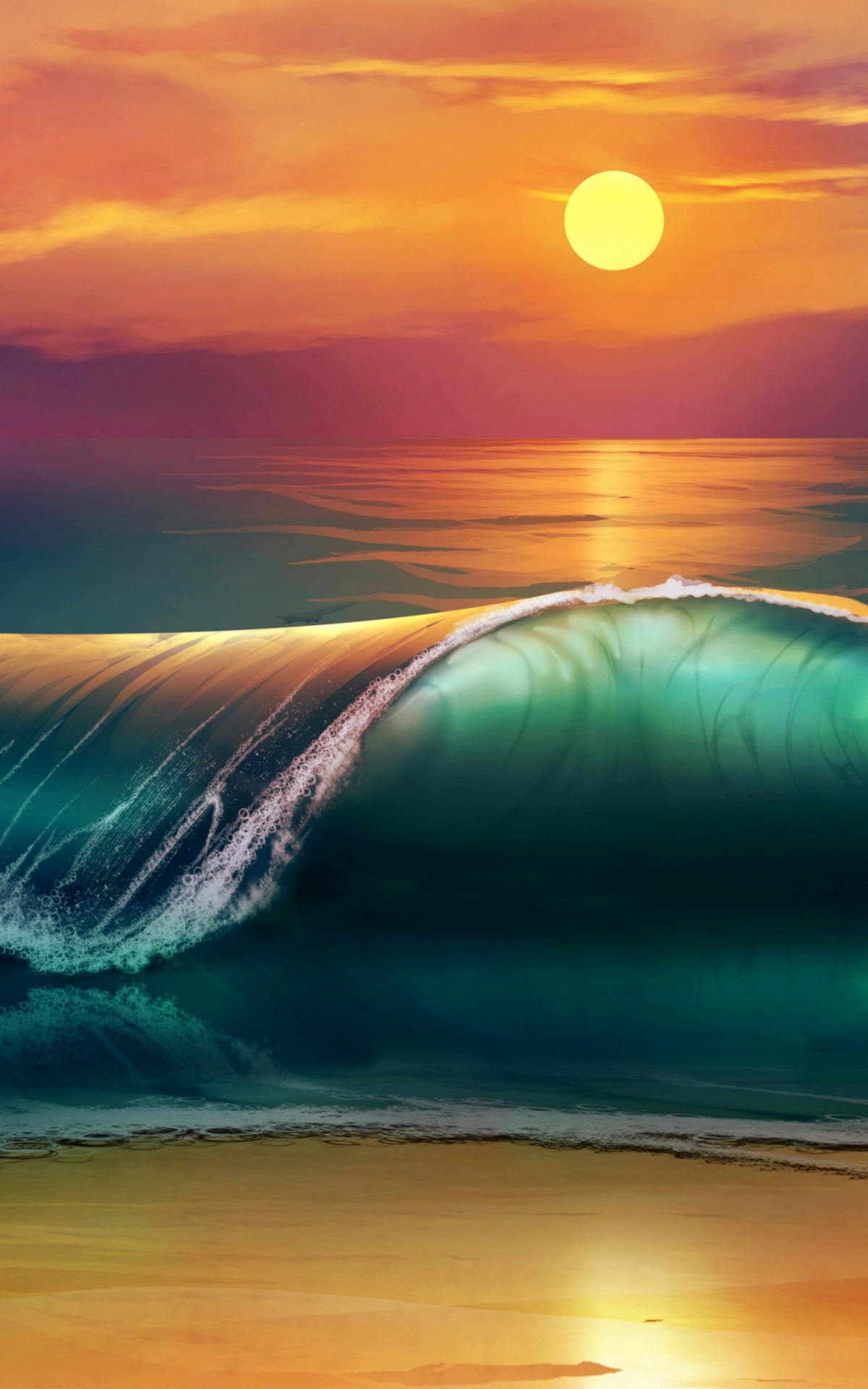 Free download Wallpaper 3840x2160 art sunset beach sea ...
