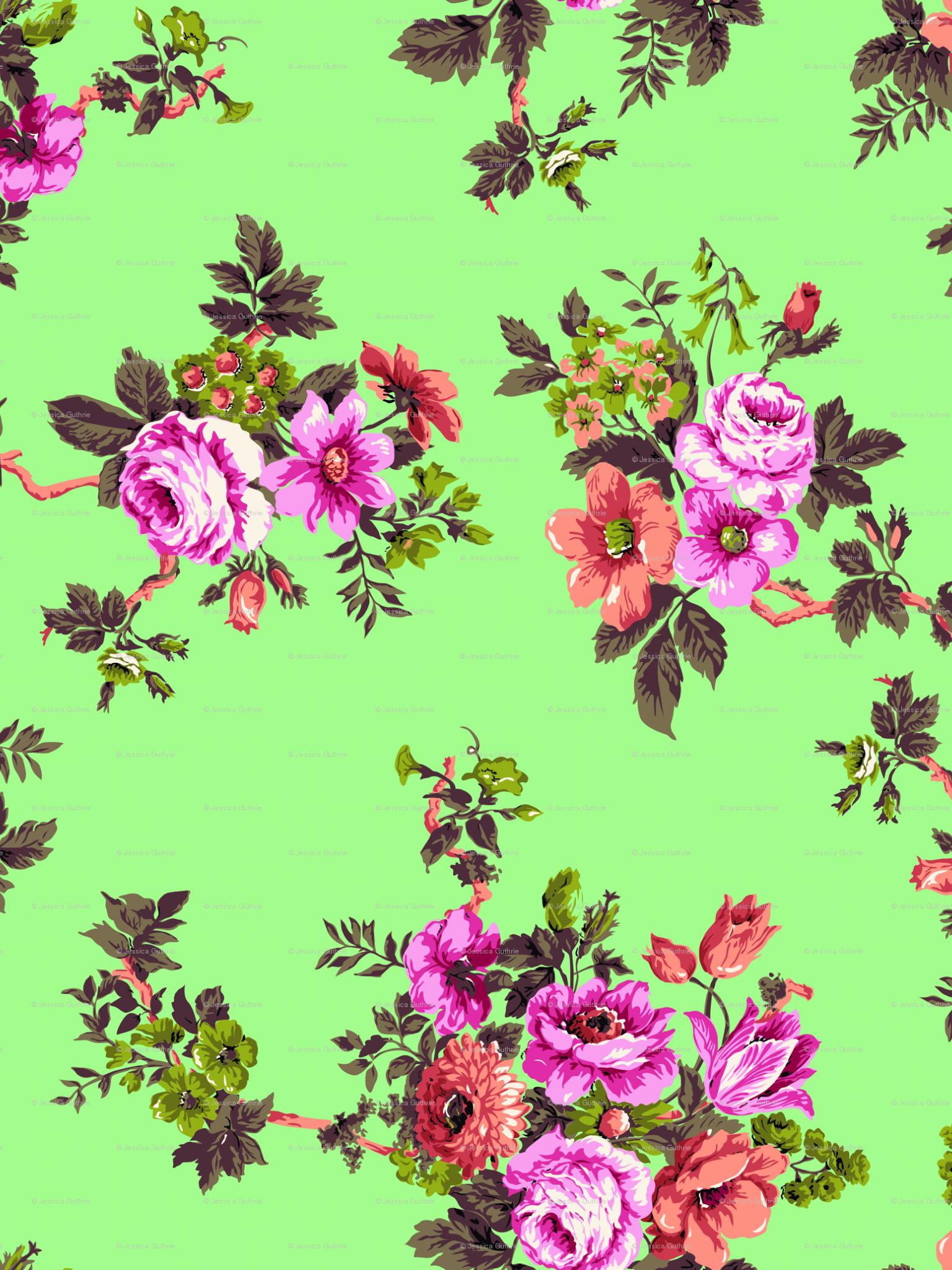 Free Download Vintage Floral Print Desktop Wallpaper Japanese