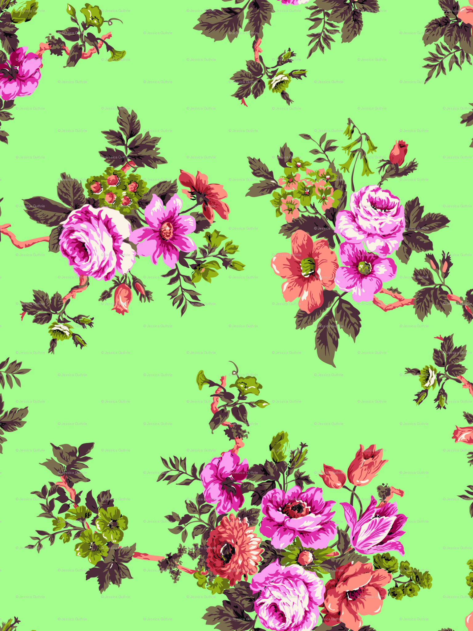 Free Download Vintage Floral Print Desktop Wallpaper Japanese