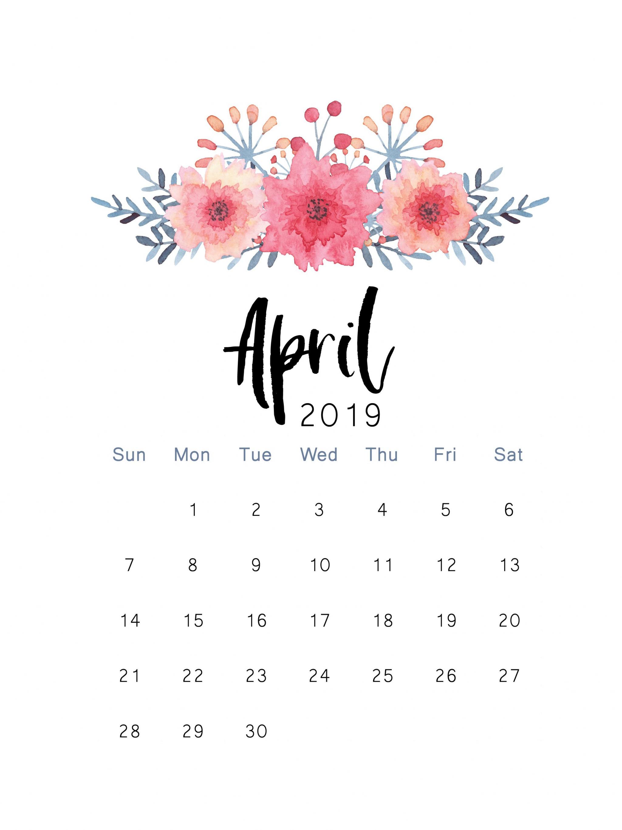 Free Download 2019 Printable Calendar Print Calendar April