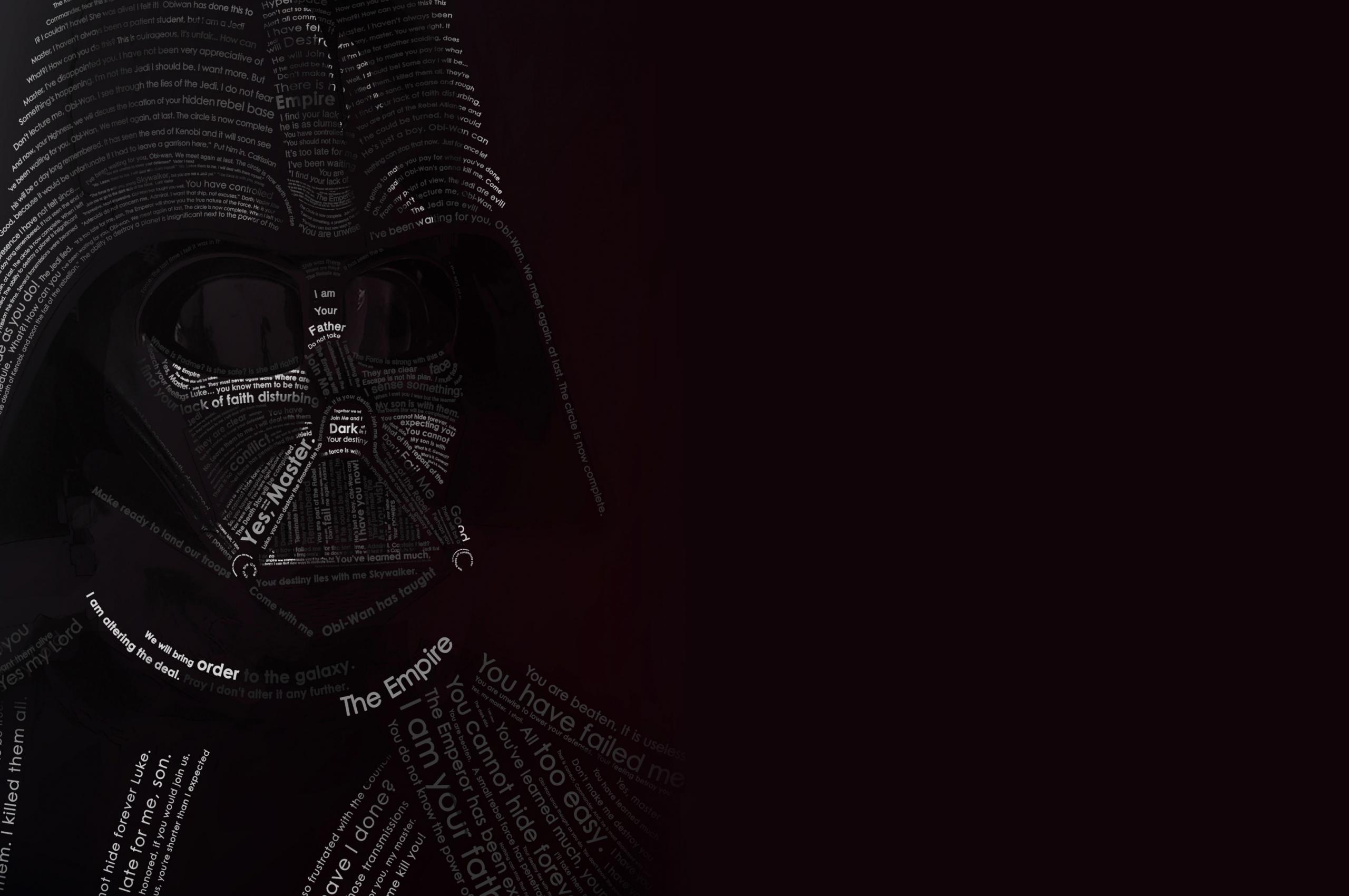 Free Download Darth Vader Typographic Portrait Wallpaper For