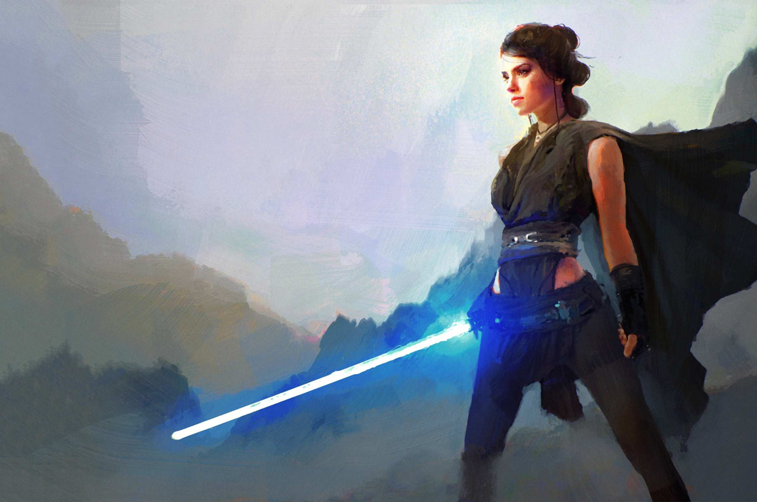Free Download The Last Jedi Rey With Lightsaber Pc Wallpaper