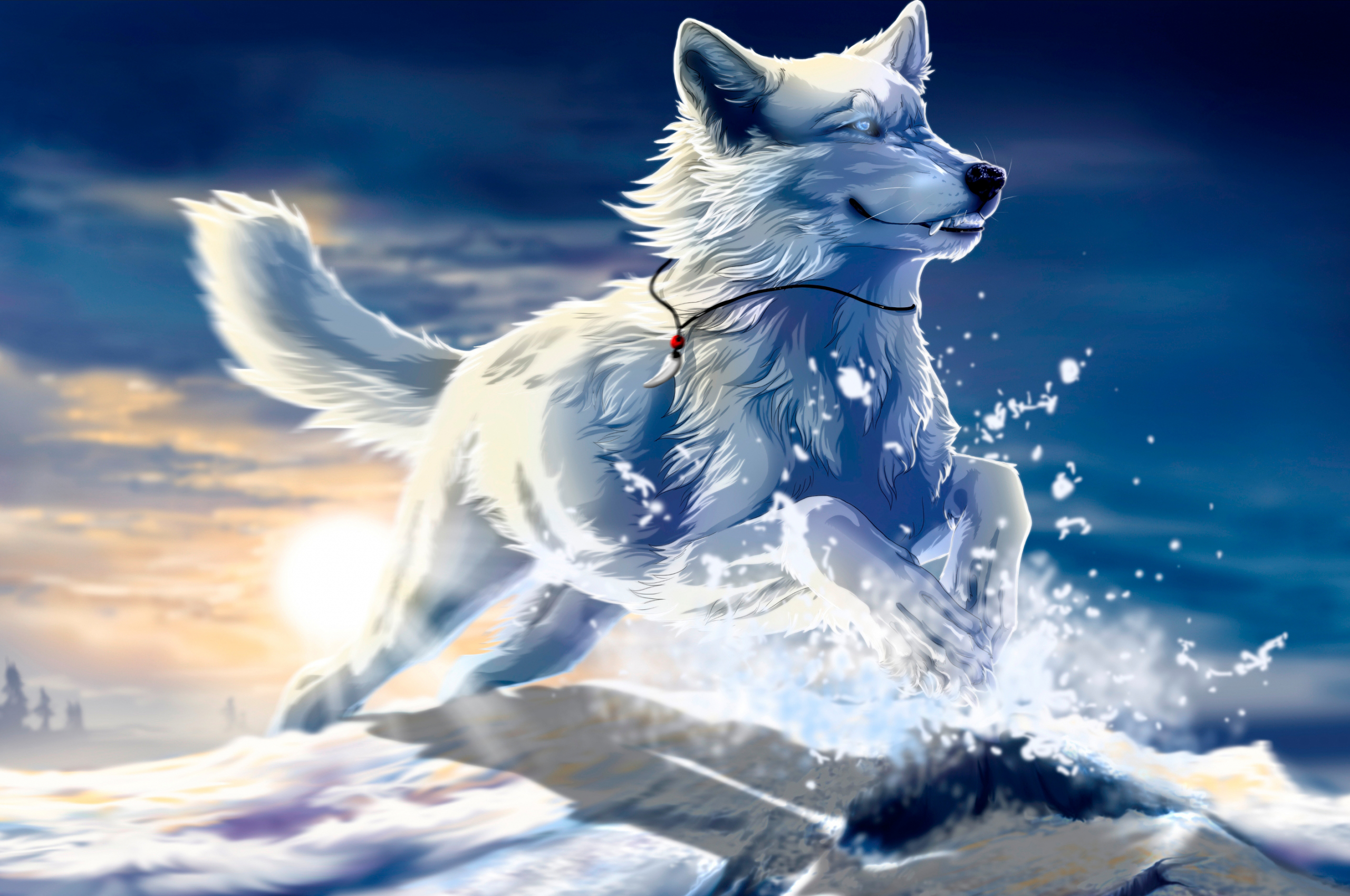 Free Download Anime Wolf With Blue Eyes White Wolf Fantasy Wolf