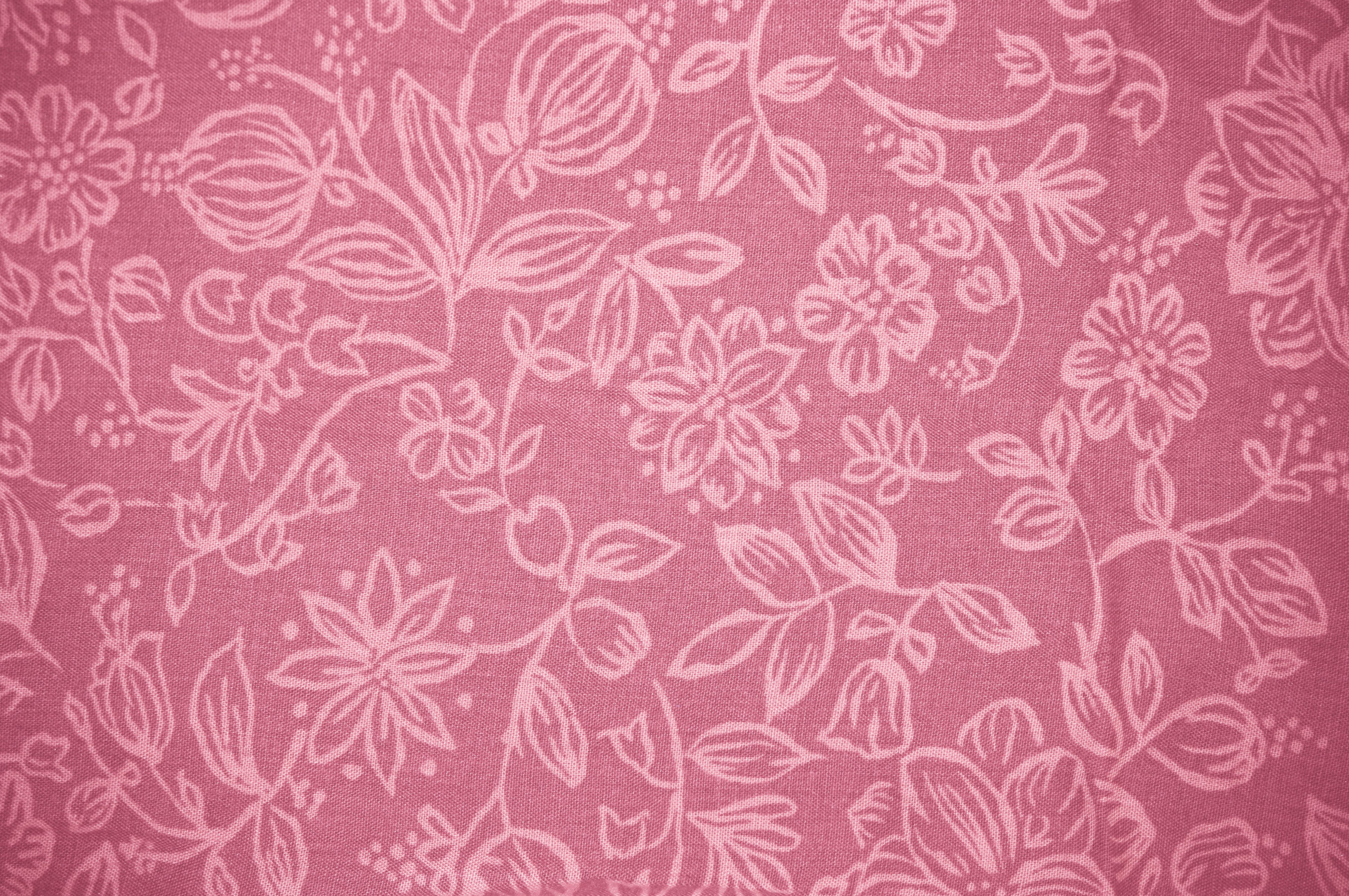 Free Download Coral Colored Fabric With Floral Pattern Texture