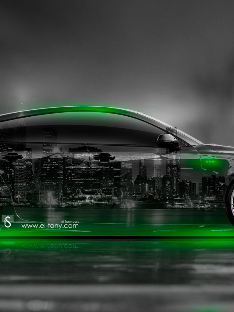 Download Audi S7 Side Crystal City Car 2014 Green Neon Hd
