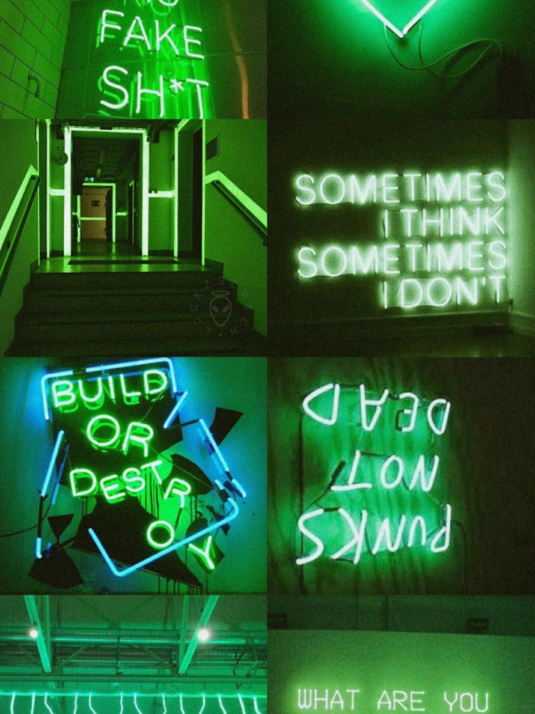 Free Download Green Aesthetic Collages In 2019 Neon Wallpaper