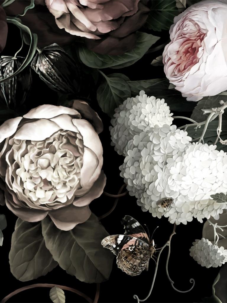 Free Download Dark Floral Ii Black Saturated Sample Floral