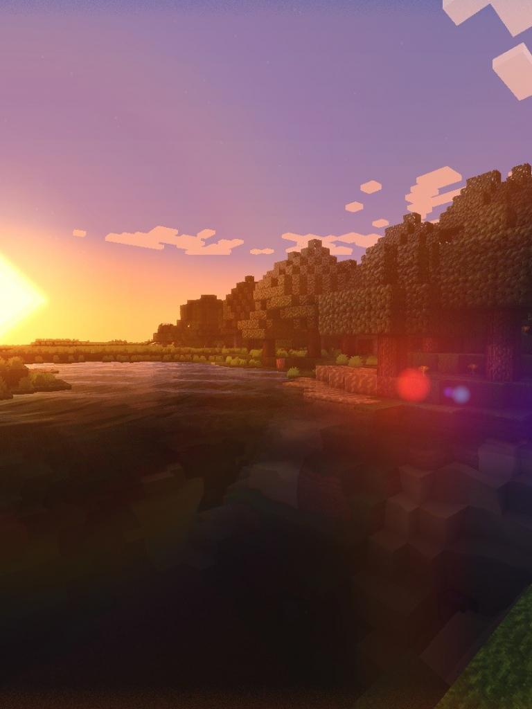 Free Minecraft Shaders Sunset wallpaper