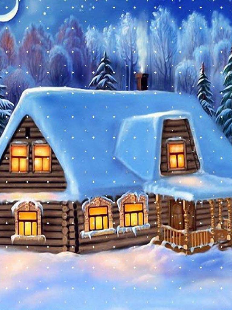 мама красивая новогодняя картинка с домом с дымом что уготовила