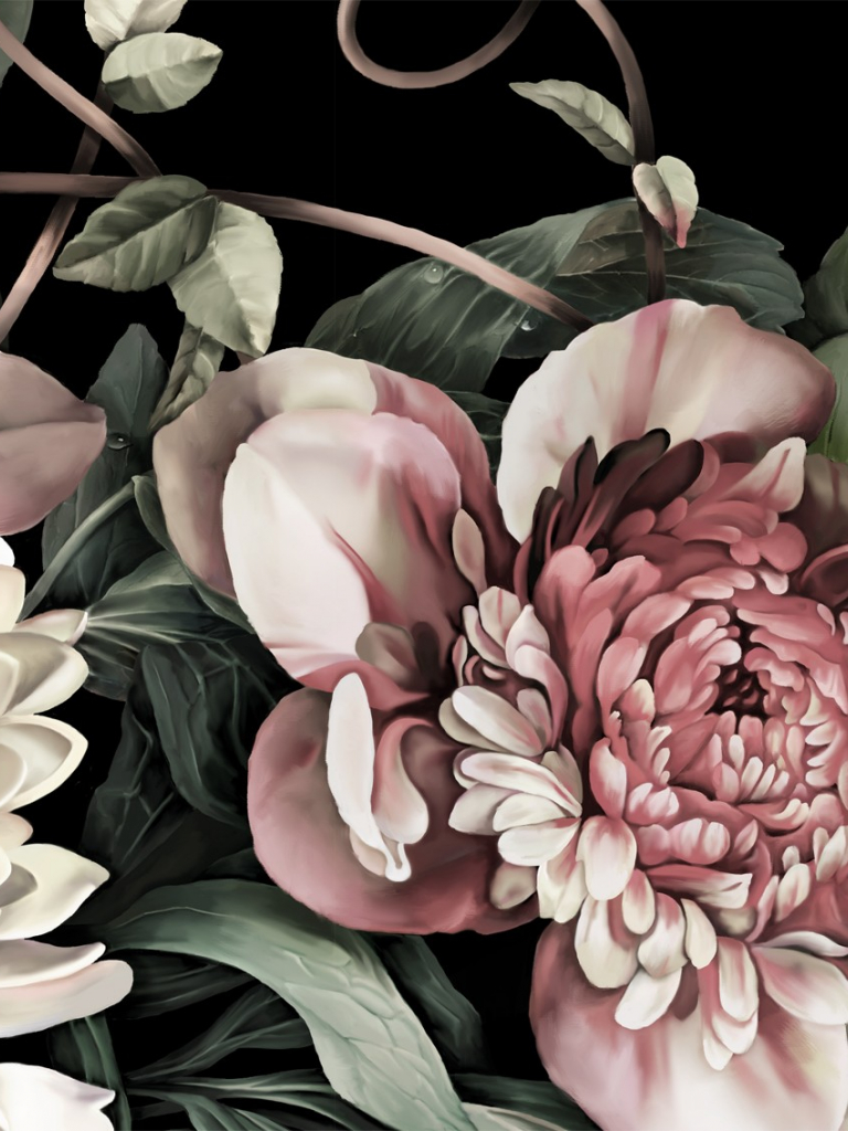 Free Download Dark Floral Ii Black Saturated 1134x1134 For Your