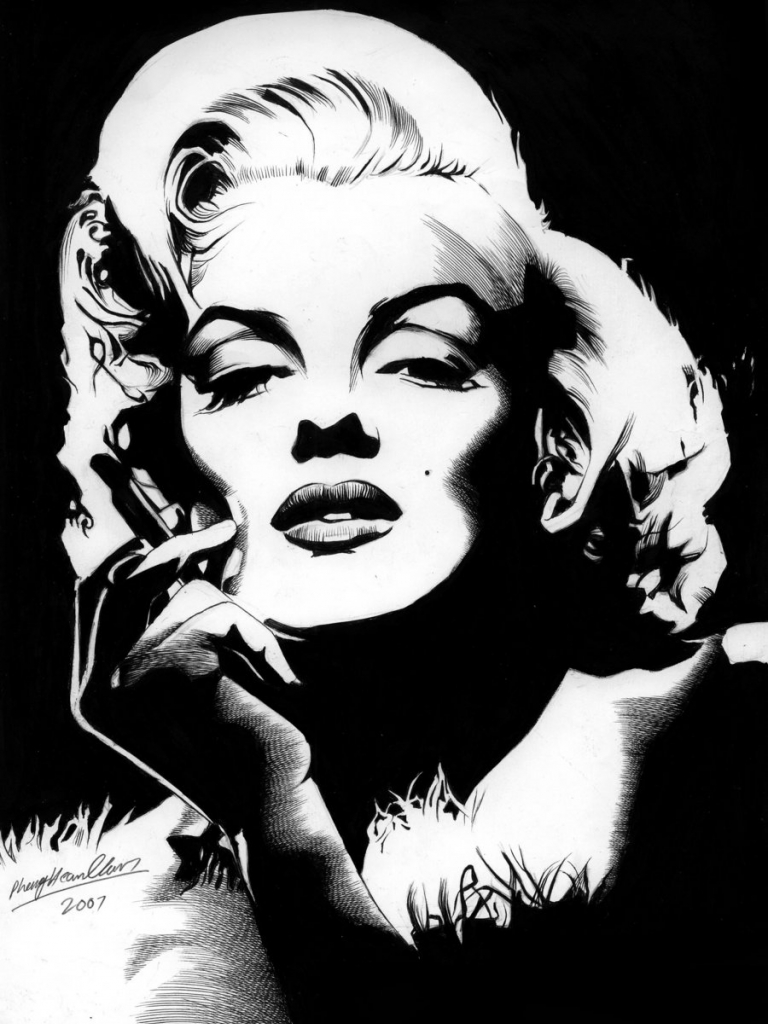 Free Download Marilyn Monroe Drawings Black White 900x1265 For
