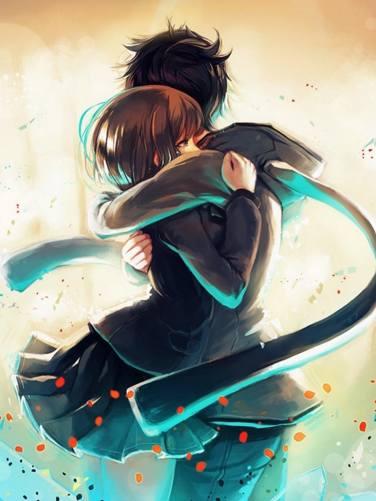 Free Download Art Couple Hug Love Happy Manga Anime Love Cute