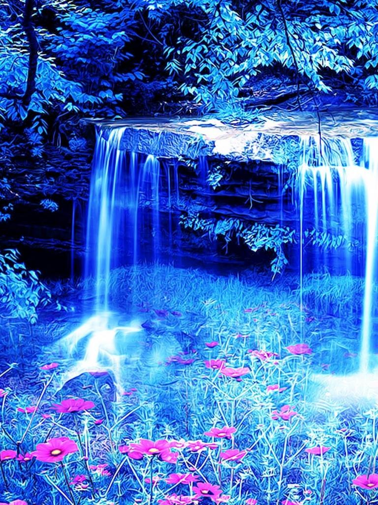 Free download swan waterfall flowers 3d wallpaper ...
