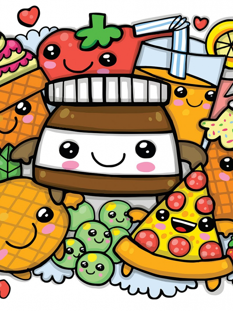 Free Download Colouring A Cute Nutella And Kawaii Food Cute