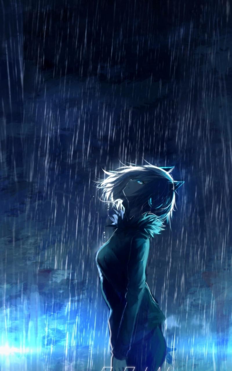 Free Download 2560x1440 Anime Girl Scenic Raining