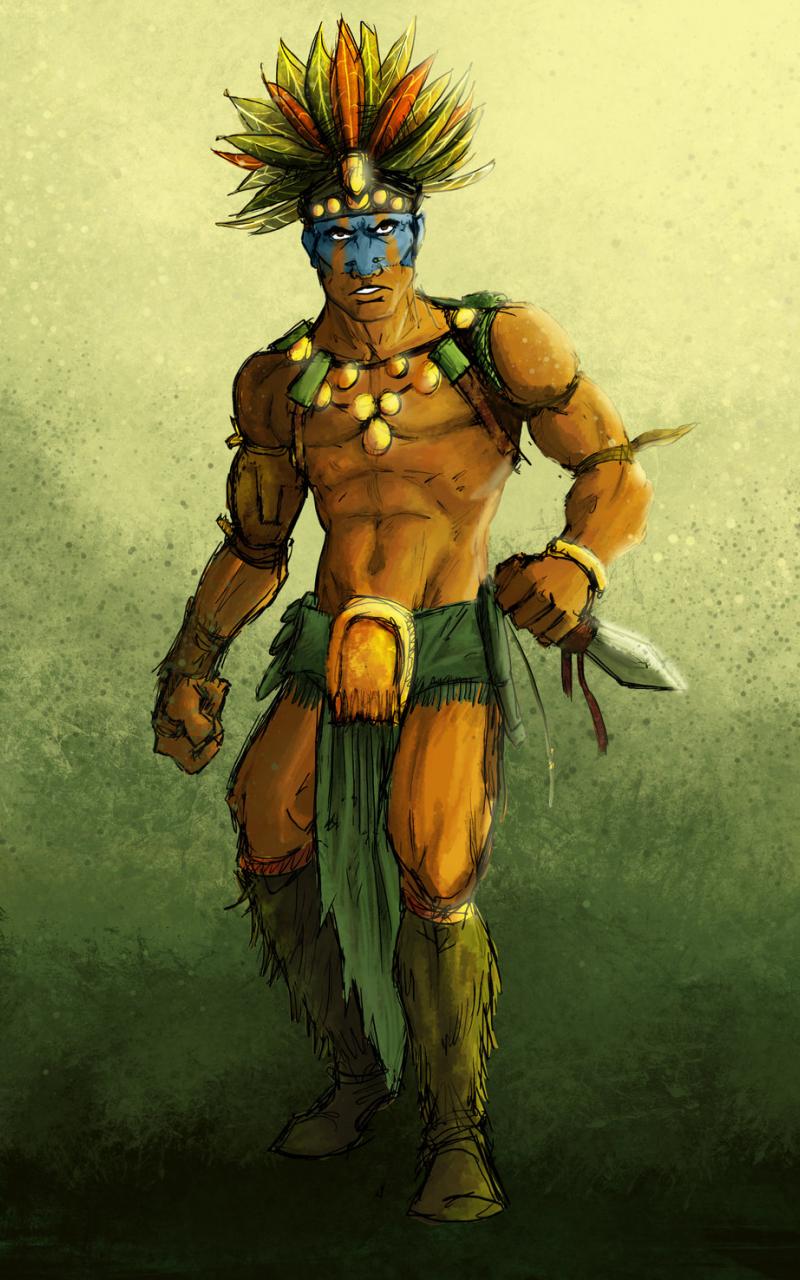 1024x1475px Aztec Warrior Wallpaper